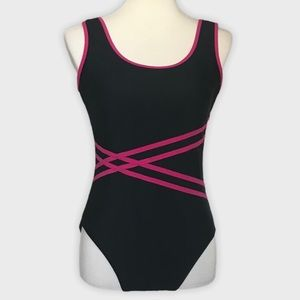 Catalina Black and Pink One Piece Swimsuit Large